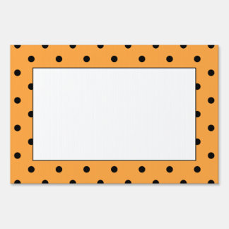 Orange and Black Polka Dot Pattern. Sign