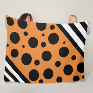 Orange and Black Polka Dots and Stripes Blanket