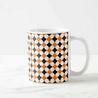 Orange and Black Quatrefoil Pattern Coffee Mug