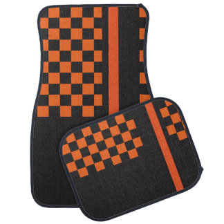 Orange and Black Racing Stripe | Monogram Car Floor Carpet
