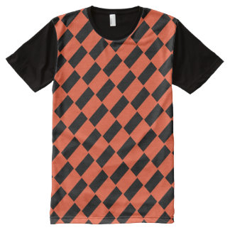 Orange And Black Rectangles Retro Pattern All-Over-Print T-Shirt