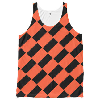 Orange And Black Rectangles Retro Pattern All-Over-Print Tank Top