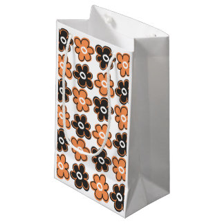 Orange And Black Retro Flowers Pattern Small Gift Bag