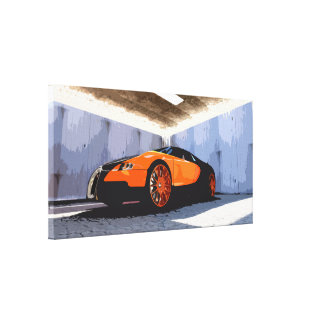 Orange and Black Sports Car in Garage Canvas