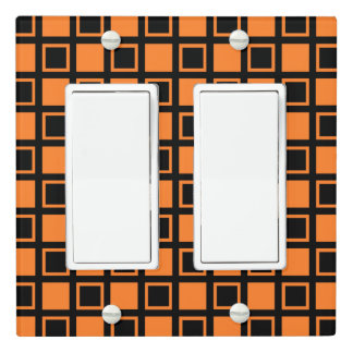 Orange and Black Squares Light Switch Cover