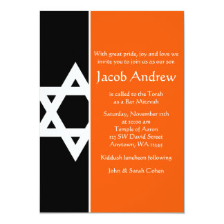 "Orange and Black Star of David Bar Mitzvah 5"" X 7"" Invitation Card"