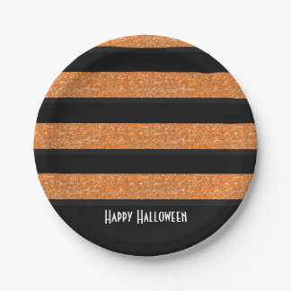 Orange and black stripes Halloween Plate