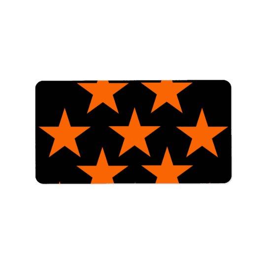 Orange and Black Super Stars Pattern Label
