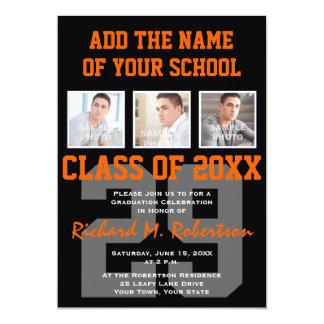 Orange and Black Team Colours Sports Graduation Card