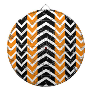 Orange and Black Whale Chevron Dartboard
