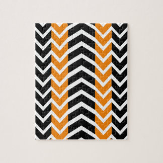 Orange and Black Whale Chevron Jigsaw Puzzle