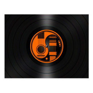 Orange and Black Yin Yang Guitars Vinyl Graphic Postcard