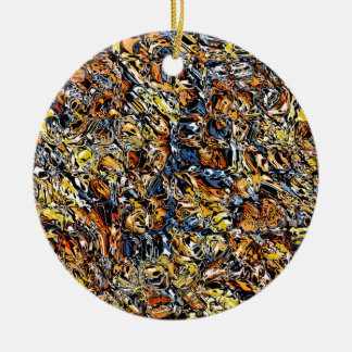 Orange And Blue Abstract Ceramic Ornament