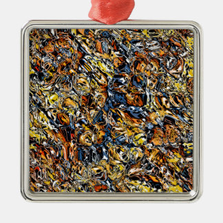 Orange And Blue Abstract Metal Ornament