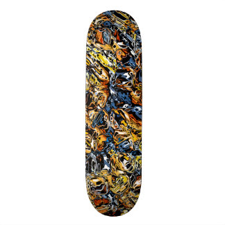 Orange And Blue Abstract Skateboard Deck