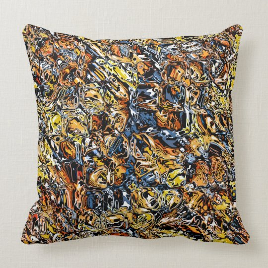Orange And Blue Abstract Throw Pillow