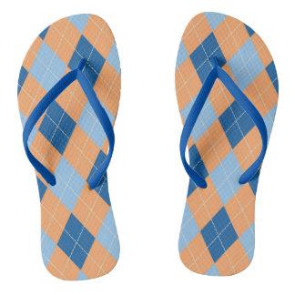 Orange and Blue Argyle Flip Flops
