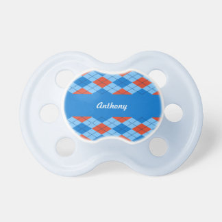 Orange and Blue Argyle Pattern Pacifier