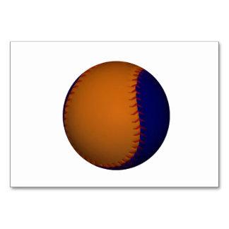 Orange and Blue Baseball Table Cards