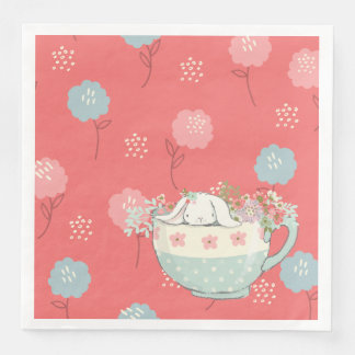 Orange and Blue Bunny in a Teacup Flowers Paper Napkins