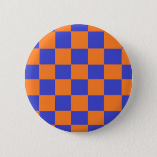 Orange and Blue Checkers 2 Inch Round Button