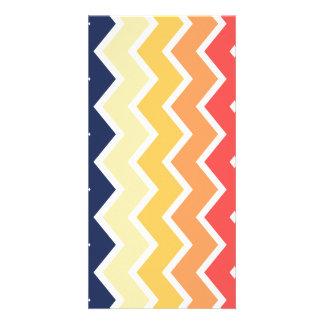 Orange And Blue Chevron Geometric Designs Color Custom Photo Card