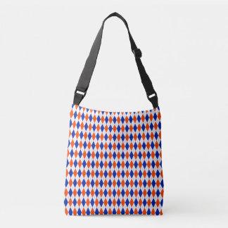 Orange and Blue Classic Diamond Argyle Pattern Crossbody Bag
