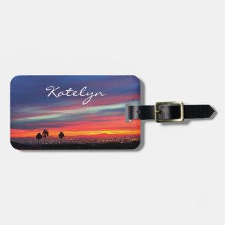 Orange and blue clouds sunrise photo custom name luggage tag