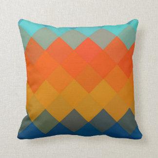 Orange and Blue Diamond Seamless Pattern Throw Pillow