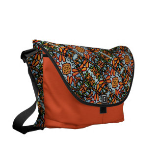 Orange And Blue Dragonflies Pattern Courier Bags