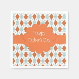 Orange and Blue Father's Day Napkins Paper Napkins