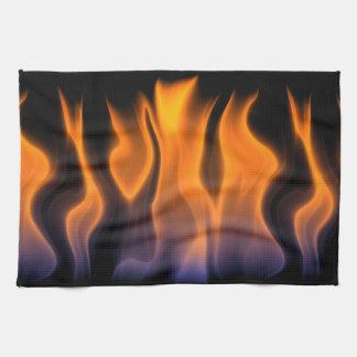 Orange and Blue Flames on a Black Background Kitchen Towel