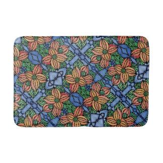 Orange And Blue Floral Pattern Bath Mat