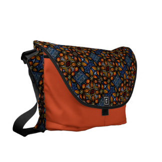 Orange And Blue Floral Pattern Commuter Bag
