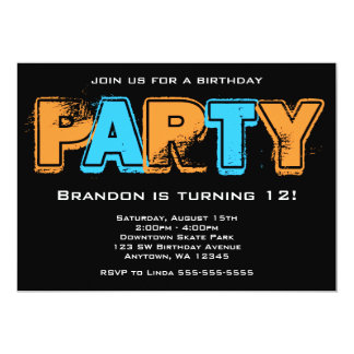 "Orange and Blue Grunge Birthday Party 5"" X 7"" Invitation Card"
