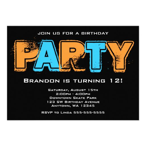 Orange and Blue Grunge Birthday Party Announcements
