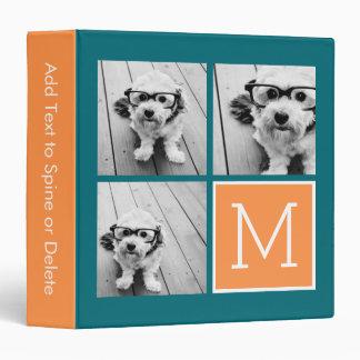 Orange and Blue Instagram Photo Collage Monogram Vinyl Binder