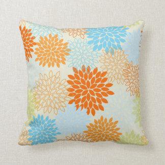 Orange and Blue Mums Throw Pillow