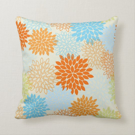 Orange and Blue Mums Throw Pillow