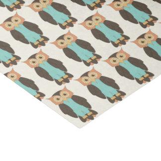 Orange and Blue Owls Tissue Paper