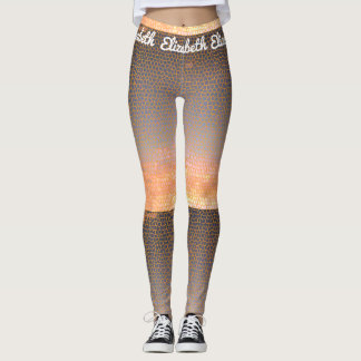 Orange and Blue Pixel Sunset Mosaic Pattern Leggings