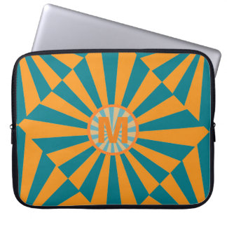 Orange and Blue Retro Sunbeam Laptop Sleeve