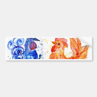 Orange and Blue Roosters Bumper Sticker