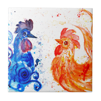 Orange and Blue Roosters Ceramic Tiles