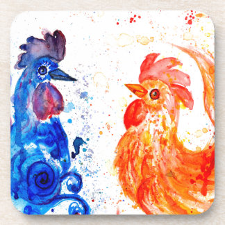 Orange and Blue Roosters Coaster