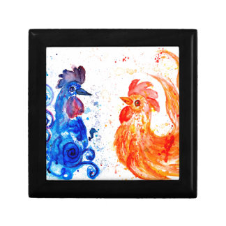 Orange and Blue Roosters Gift Box