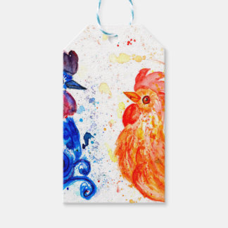 Orange and Blue Roosters Gift Tags