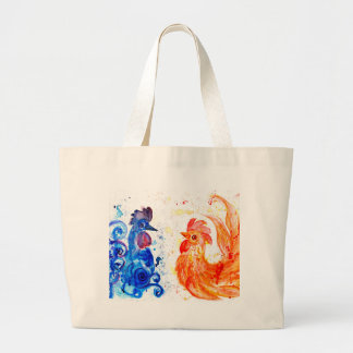 Orange and Blue Roosters Large Tote Bag