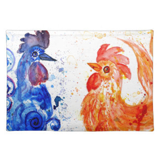 Orange and Blue Roosters Placemat