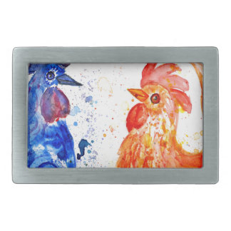Orange and Blue Roosters Rectangular Belt Buckle